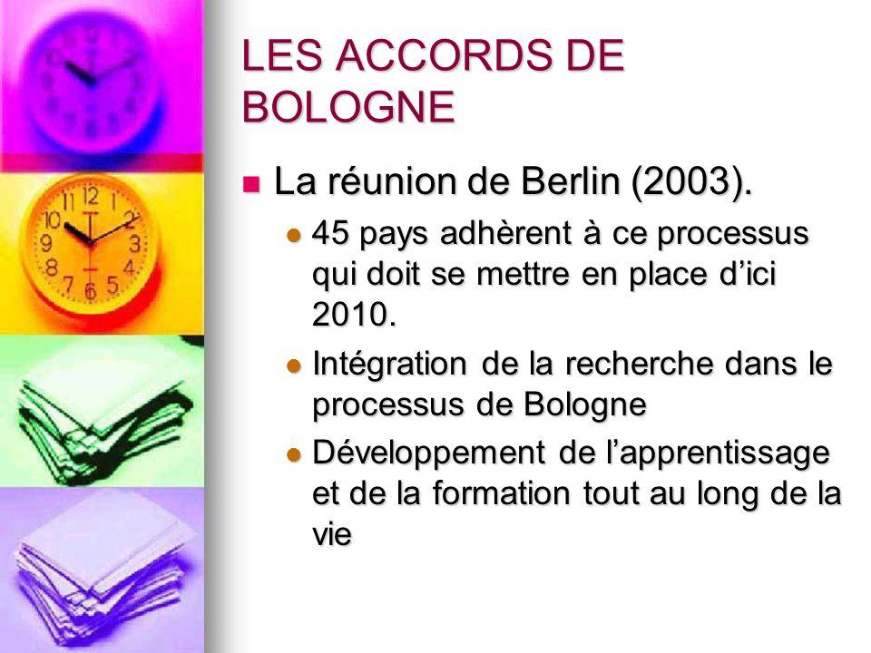 LES ACCORDS DE BOLOGNE La réunion de Berlin (2003). La réunion de Berlin (2003). 45 pays adhèrent à ce processus qui doit se mettre en place d'ici 201