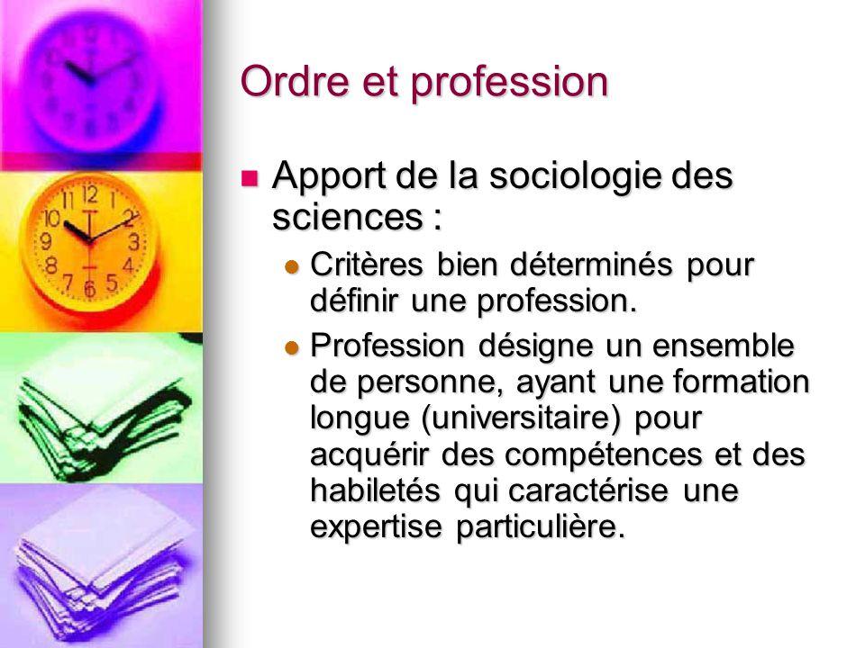 Ordre et profession Apport de la sociologie des sciences : Apport de la sociologie des sciences : Critères bien déterminés pour définir une profession