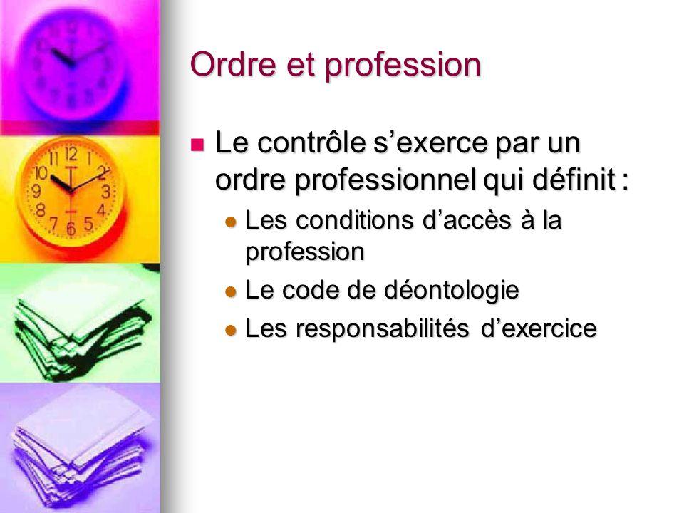 Ordre et profession Le contrôle s'exerce par un ordre professionnel qui définit : Le contrôle s'exerce par un ordre professionnel qui définit : Les co