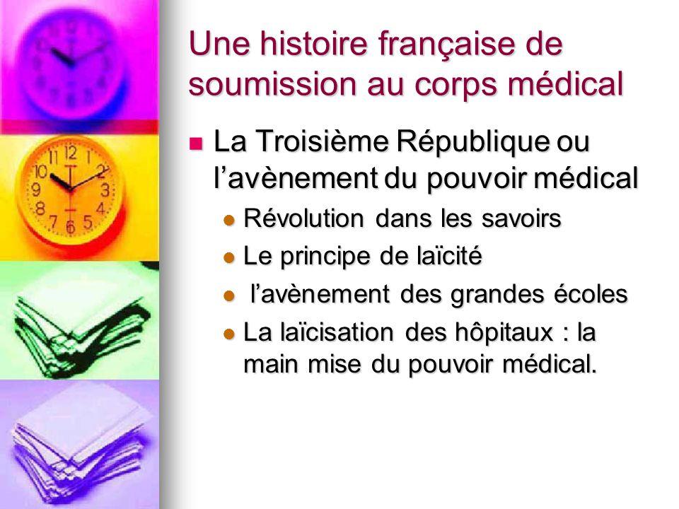 Une histoire française de soumission au corps médical La Troisième République ou l'avènement du pouvoir médical La Troisième République ou l'avènement