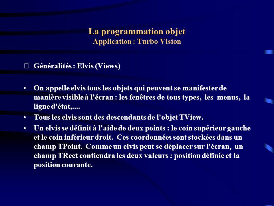 La programmation objet Application : Turbo Vision Généralités : Évènements (Events) Un événement est une action en provenance de l extérieur et à laquelle votre application doit en règle générale répondre.