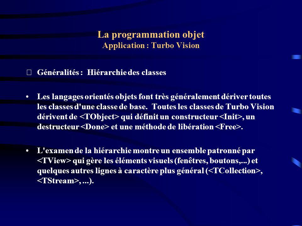 La programmation objet Application : Turbo Vision Généralités : Hiérarchie des classes On remarquera la classe encadrée dont héritera une application Turbo Vision.
