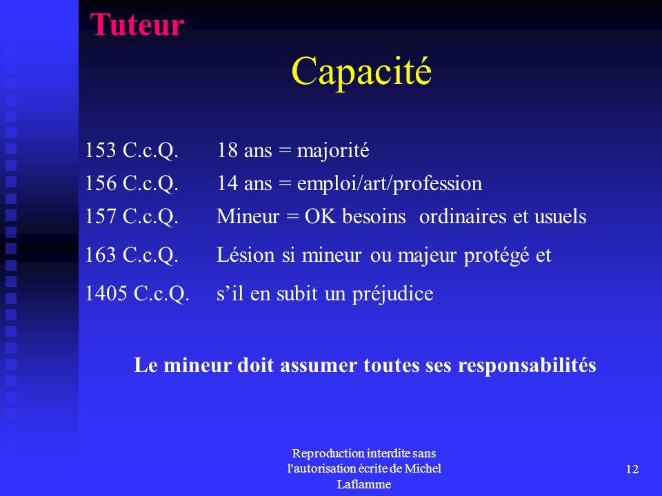 Reproduction interdite sans l'autorisation écrite de Michel Laflamme 12 Capacité 153 C.c.Q. 18 ans = majorité Tuteur 156 C.c.Q. 14 ans = emploi/art/pr