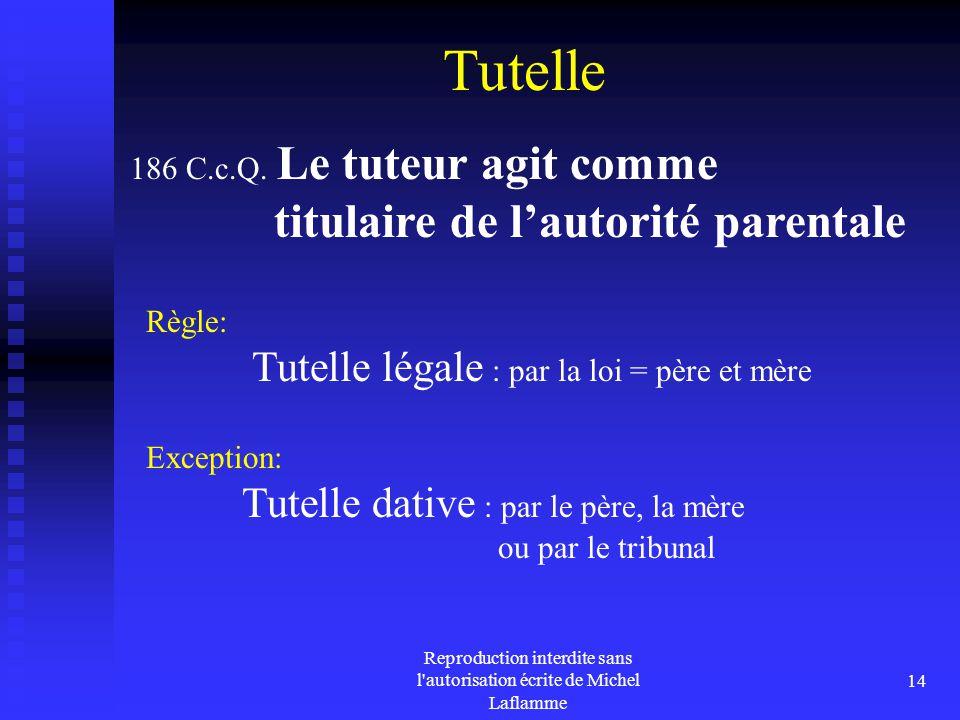 Reproduction interdite sans l'autorisation écrite de Michel Laflamme 14 Tutelle Règle: Tutelle légale : par la loi = père et mère 186 C.c.Q. Le tuteur