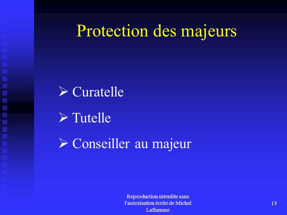 Reproduction interdite sans l'autorisation écrite de Michel Laflamme 15 Protection des majeurs  Curatelle  Tutelle  Conseiller au majeur