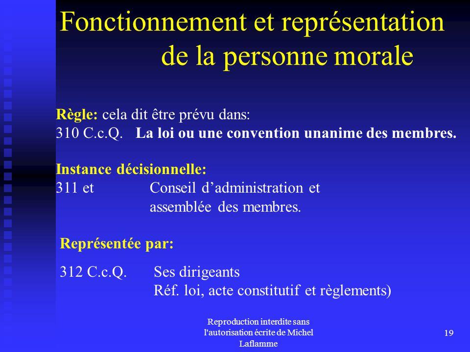 Reproduction interdite sans l'autorisation écrite de Michel Laflamme 19 Fonctionnement et représentation de la personne morale Règle: cela dit être pr