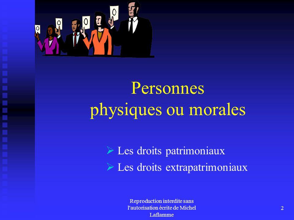 Reproduction interdite sans l autorisation écrite de Michel Laflamme 3 La personne physique La famille La succession