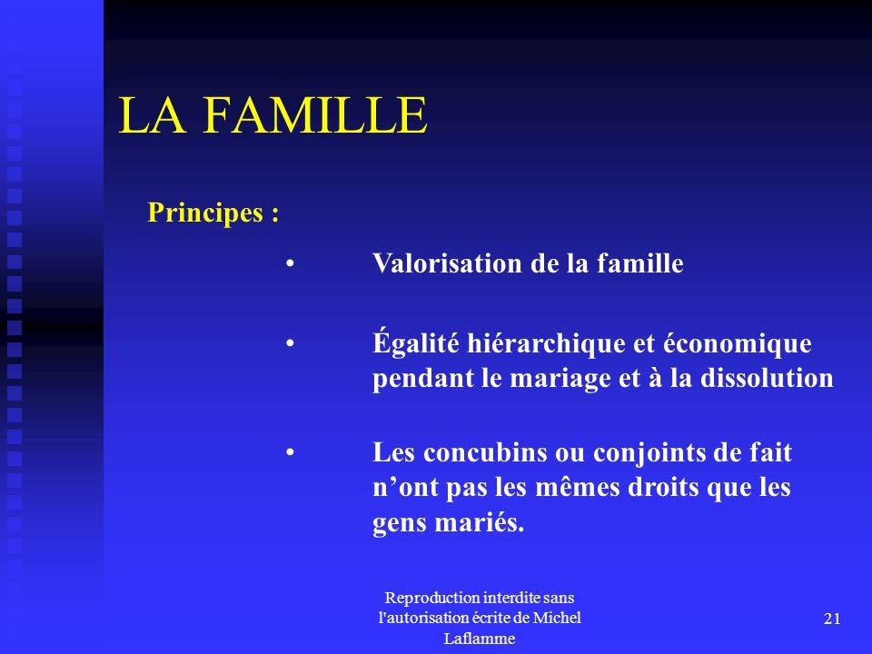 Reproduction interdite sans l'autorisation écrite de Michel Laflamme 21 LA FAMILLE Valorisation de la famille Principes : Les concubins ou conjoints d