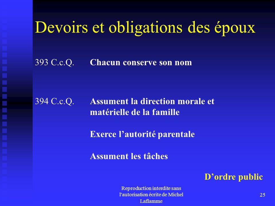 Reproduction interdite sans l'autorisation écrite de Michel Laflamme 25 Devoirs et obligations des époux 393 C.c.Q. Chacun conserve son nom D'ordre pu