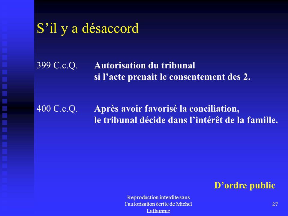 Reproduction interdite sans l'autorisation écrite de Michel Laflamme 27 S'il y a désaccord 399 C.c.Q. Autorisation du tribunal si l'acte prenait le co