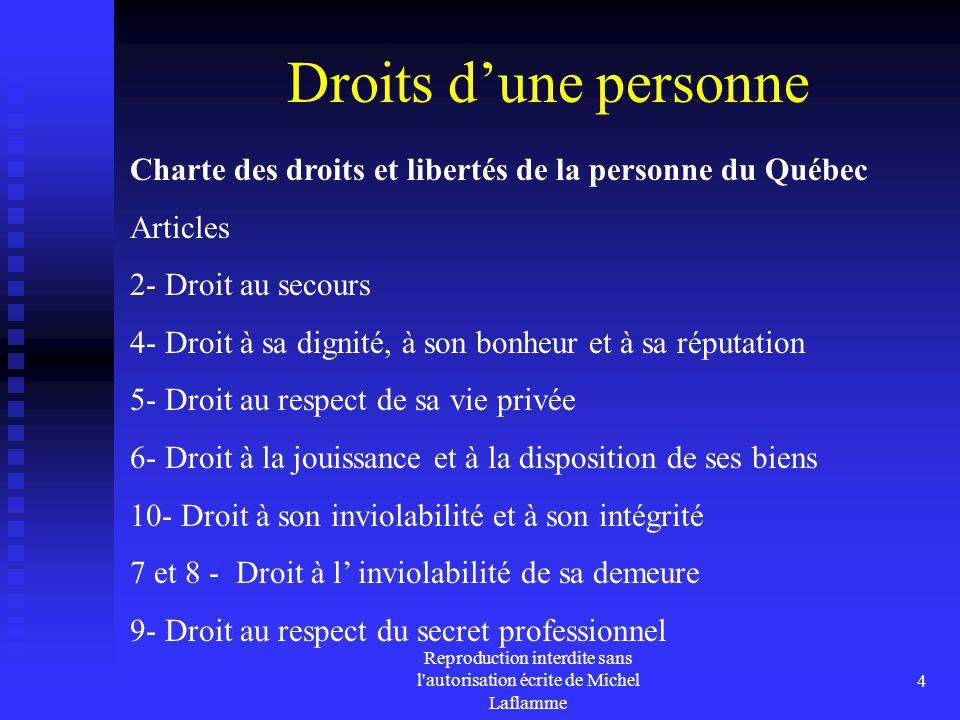 Reproduction interdite sans l'autorisation écrite de Michel Laflamme 4 Droits d'une personne Charte des droits et libertés de la personne du Québec Ar