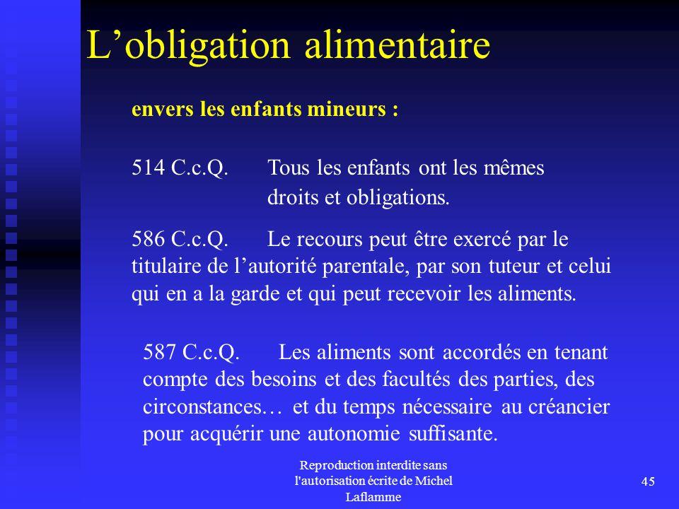 Reproduction interdite sans l'autorisation écrite de Michel Laflamme 45 L'obligation alimentaire envers les enfants mineurs : 514 C.c.Q. Tous les enfa