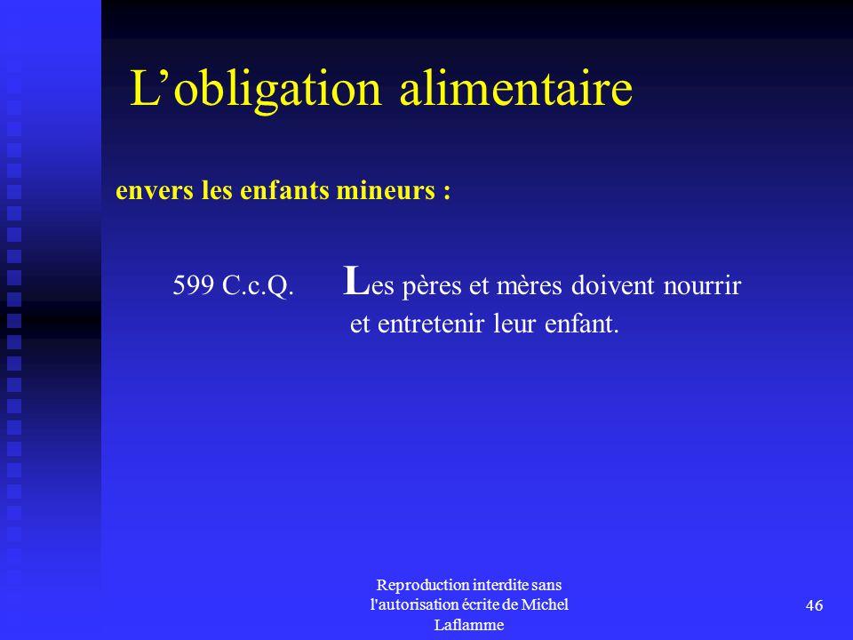 Reproduction interdite sans l'autorisation écrite de Michel Laflamme 46 envers les enfants mineurs : 599 C.c.Q. L es pères et mères doivent nourrir et