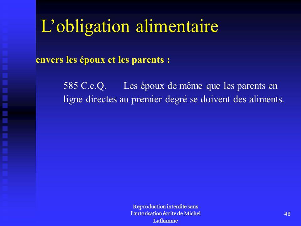 Reproduction interdite sans l'autorisation écrite de Michel Laflamme 48 envers les époux et les parents : 585 C.c.Q. Les époux de même que les parents