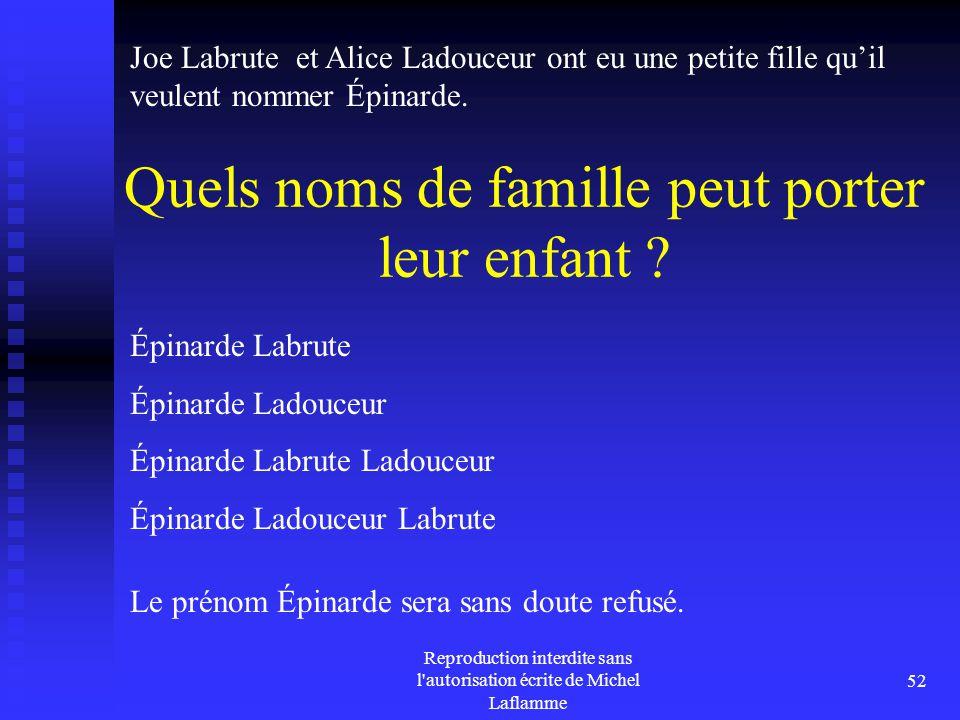 Reproduction interdite sans l'autorisation écrite de Michel Laflamme 52 Quels noms de famille peut porter leur enfant ? Joe Labrute et Alice Ladouceur