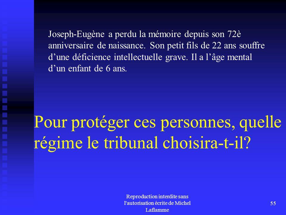 Reproduction interdite sans l'autorisation écrite de Michel Laflamme 55 Pour protéger ces personnes, quelle régime le tribunal choisira-t-il? Joseph-E