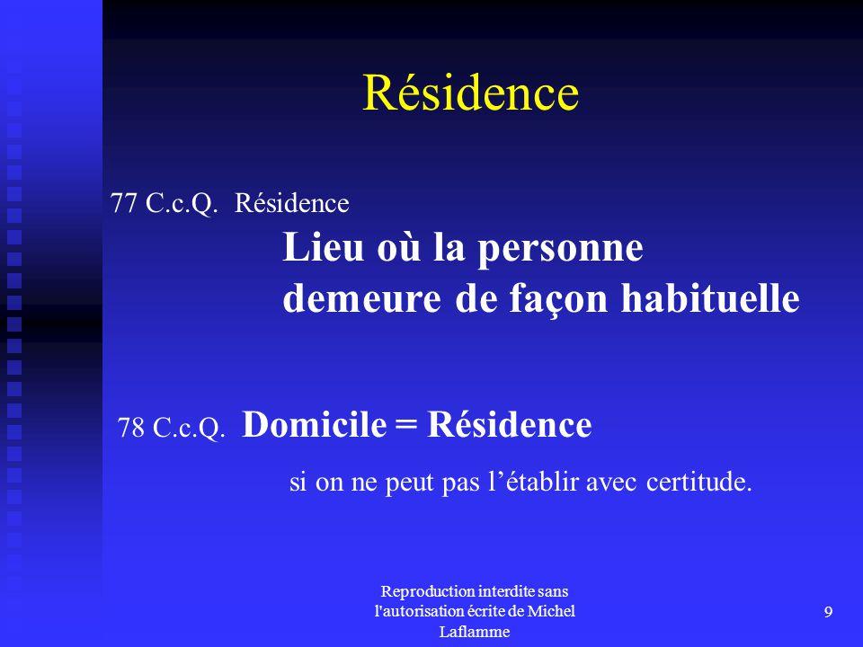 Reproduction interdite sans l'autorisation écrite de Michel Laflamme 9 Résidence 77 C.c.Q. Résidence Lieu où la personne demeure de façon habituelle 7