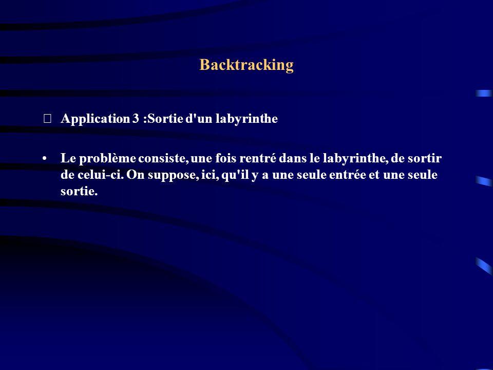 Application 3 :Sortie d'un labyrinthe Le problème consiste, une fois rentré dans le labyrinthe, de sortir de celui-ci. On suppose, ici, qu'il y a une