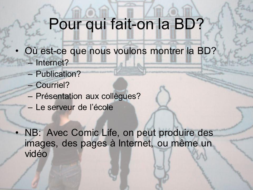 Pour qui fait-on la BD? Où est-ce que nous voulons montrer la BD? –Internet? –Publication? –Courriel? –Présentation aux collègues? –Le serveur de l'éc