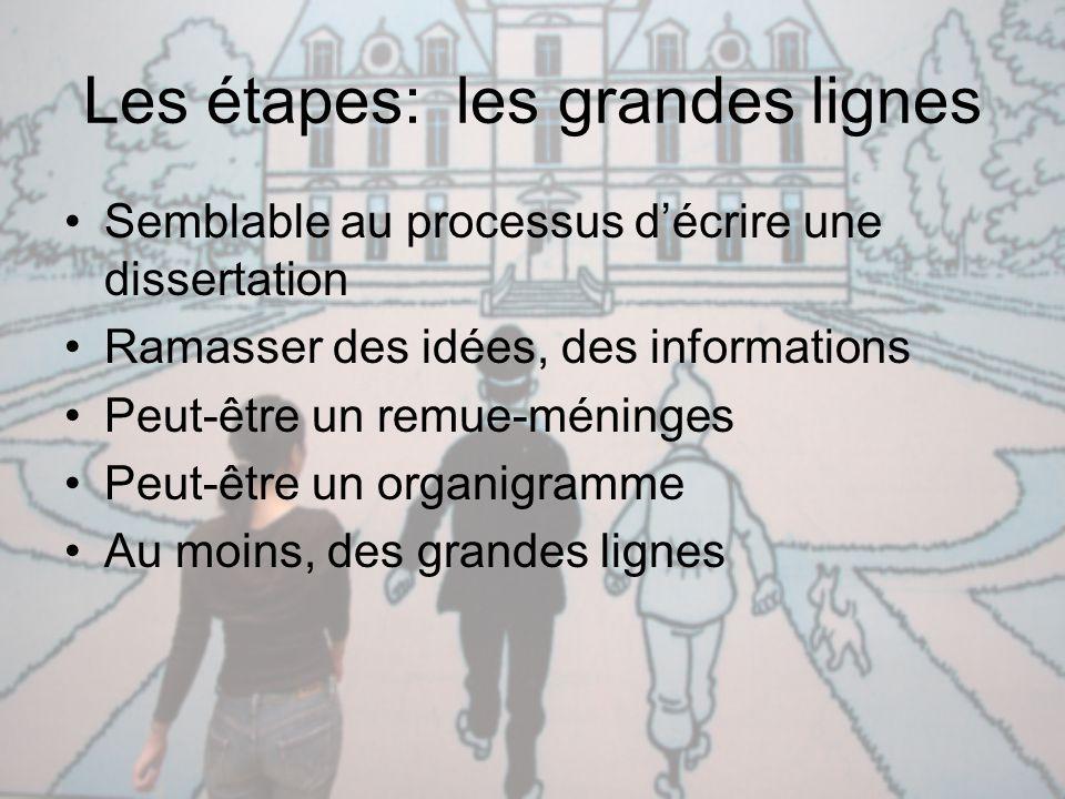 Les étapes: les grandes lignes Semblable au processus d'écrire une dissertation Ramasser des idées, des informations Peut-être un remue-méninges Peut-