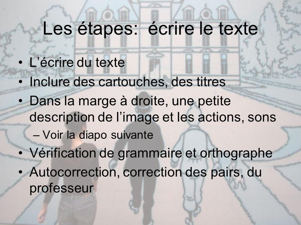 Les étapes: écrire le texte L'écrire du texte Inclure des cartouches, des titres Dans la marge à droite, une petite description de l'image et les acti