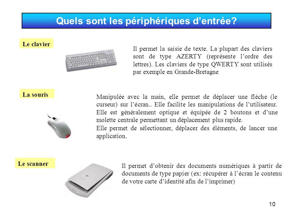 10 Quels sont les périphériques d'entrée? Il permet d'obtenir des documents numériques à partir de documents de type papier (ex: récupérer à l'écran l