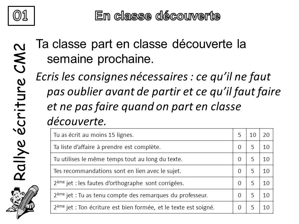 Rallye écriture CM2 Ta classe part en classe découverte la semaine prochaine. Ecris les consignes nécessaires : ce qu'il ne faut pas oublier avant de