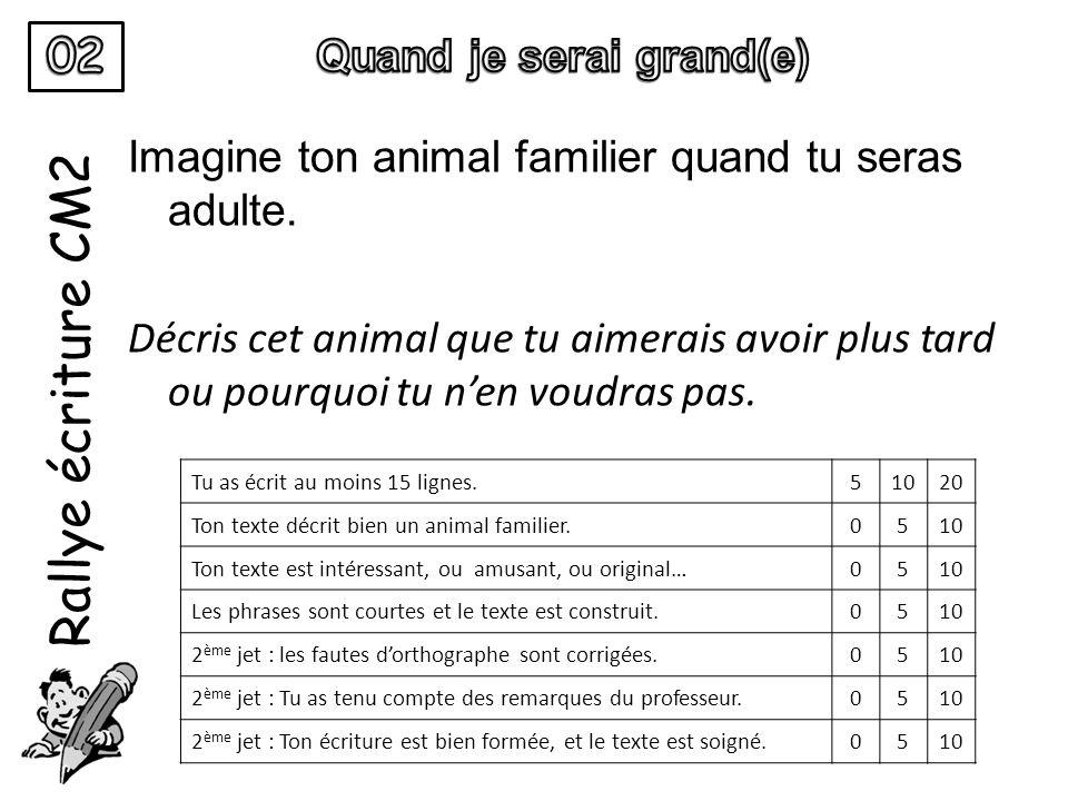Rallye écriture CM2 Imagine ton animal familier quand tu seras adulte. Décris cet animal que tu aimerais avoir plus tard ou pourquoi tu n'en voudras p