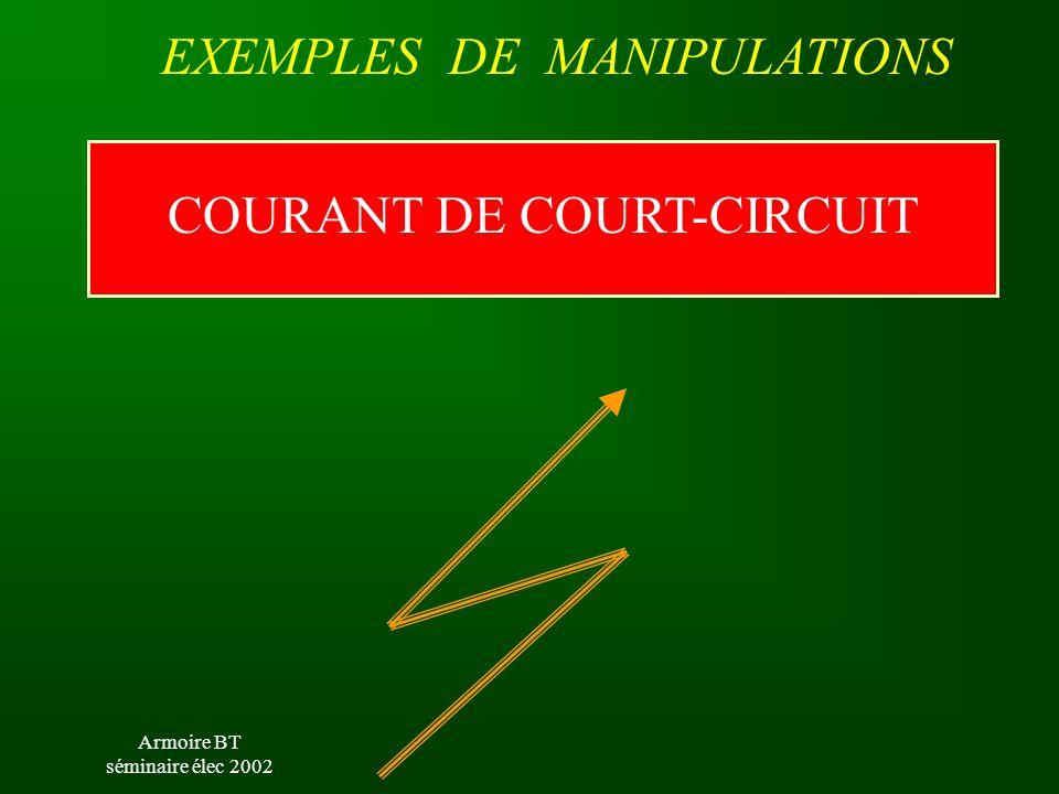 Armoire BT séminaire élec 2002 EXEMPLES DE MANIPULATIONS COURANT DE COURT-CIRCUIT