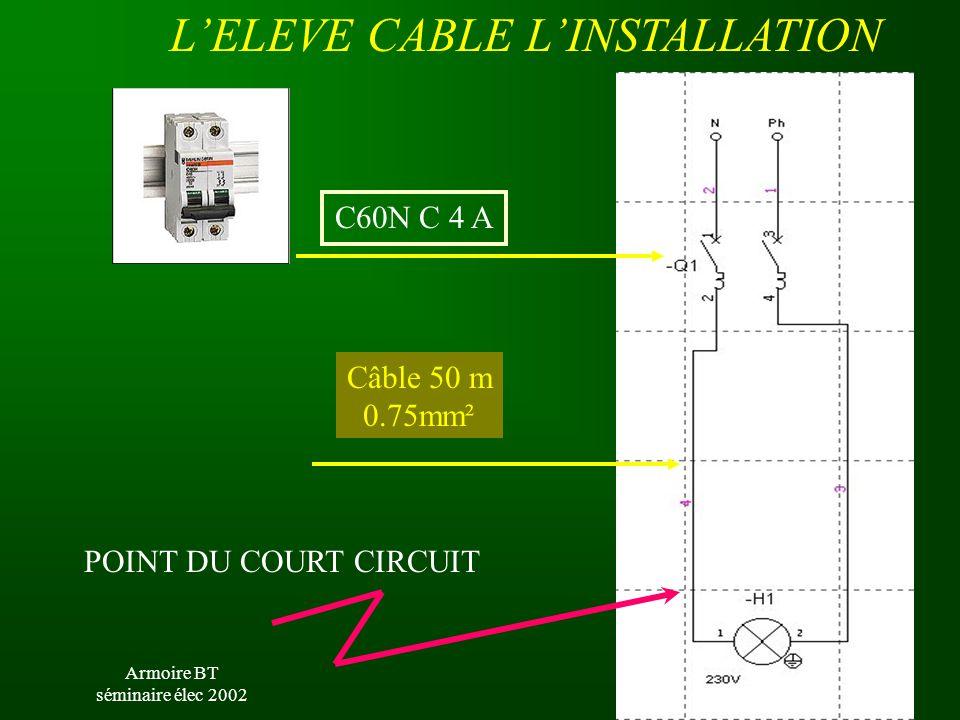 Armoire BT séminaire élec 2002 L'ELEVE CABLE L'INSTALLATION C60N C 4 A POINT DU COURT CIRCUIT Câble 50 m 0.75mm²