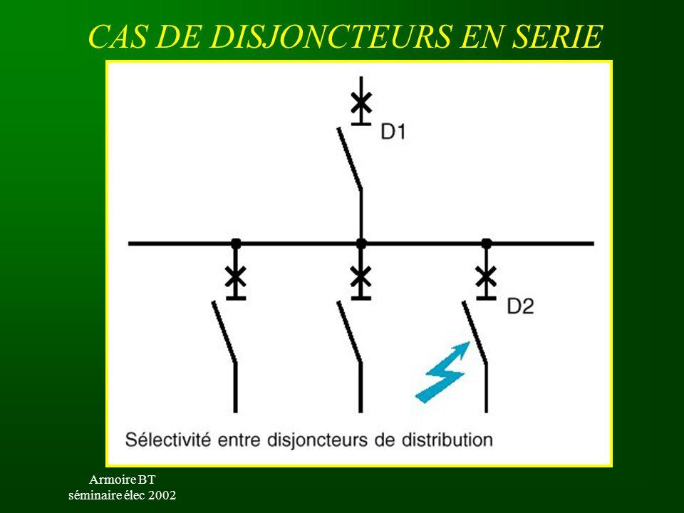 Armoire BT séminaire élec 2002 CAS DE DISJONCTEURS EN SERIE