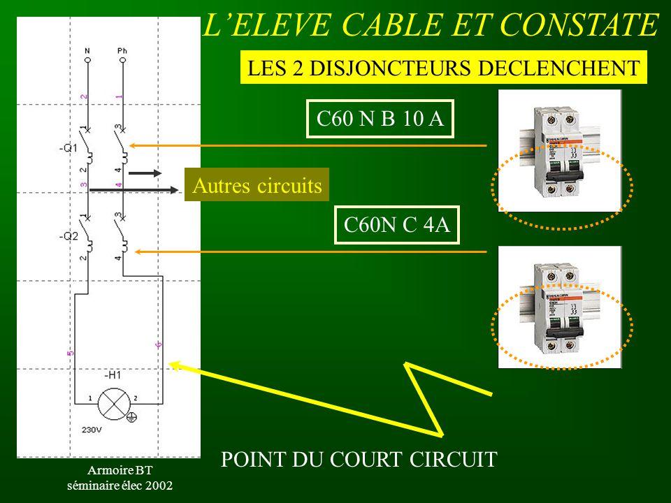 Armoire BT séminaire élec 2002 POINT DU COURT CIRCUIT C60N C 4A C60 N B 10 A LES 2 DISJONCTEURS DECLENCHENT L'ELEVE CABLE ET CONSTATE Autres circuits