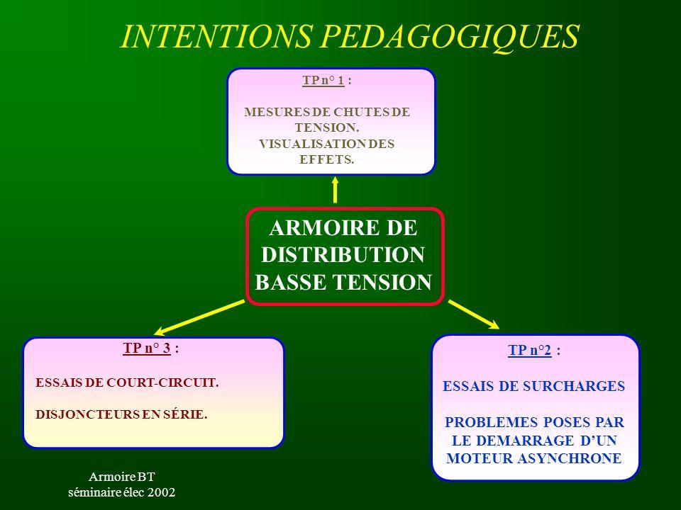 Armoire BT séminaire élec 2002 INTENTIONS PEDAGOGIQUES ARMOIRE DE DISTRIBUTION BASSE TENSION TP n° 3 : ESSAIS DE COURT-CIRCUIT. DISJONCTEURS EN SÉRIE.