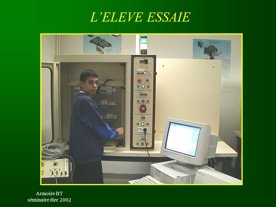 Armoire BT séminaire élec 2002 ESSAI DE SURCHARGE EXEMPLES DE MANIPULATIONS