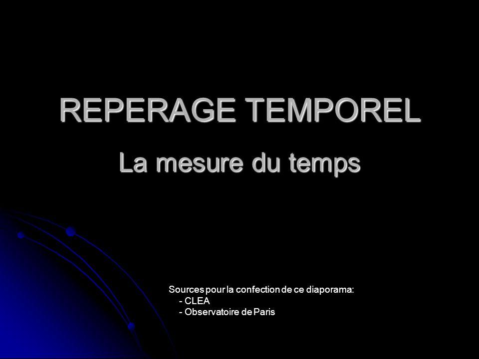 REPERAGE TEMPOREL La mesure du temps Sources pour la confection de ce diaporama: - CLEA - Observatoire de Paris