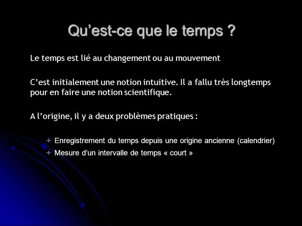Qu'est-ce que le temps ? Le temps est lié au changement ou au mouvement C'est initialement une notion intuitive. Il a fallu très longtemps pour en fai