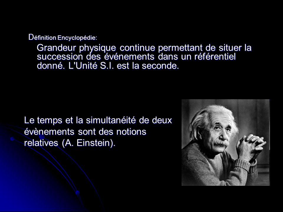 D éfinition Encyclopédie: D éfinition Encyclopédie: Grandeur physique continue permettant de situer la succession des événements dans un référentiel d