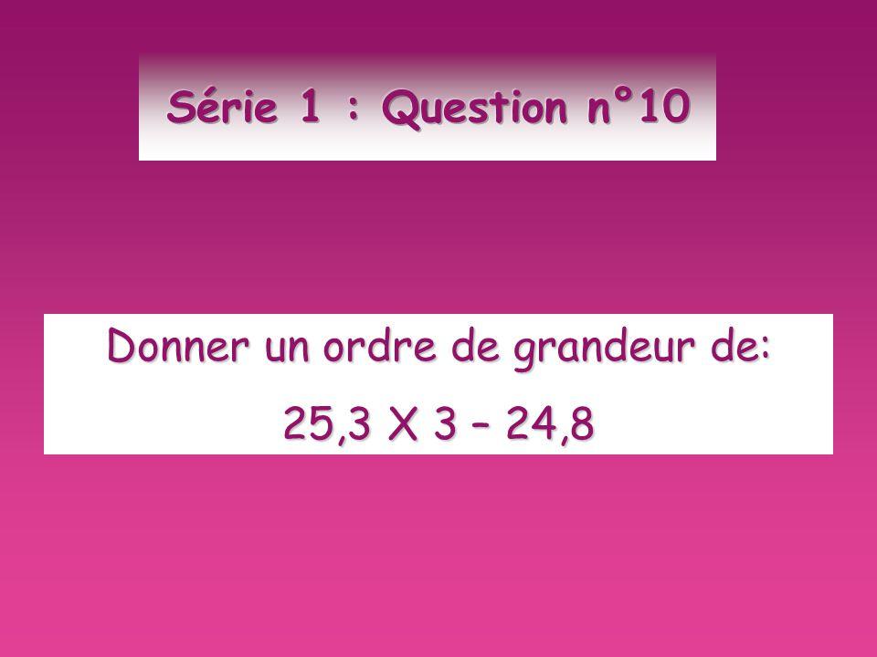 Donner un ordre de grandeur de: 25,3 X 3 – 24,8