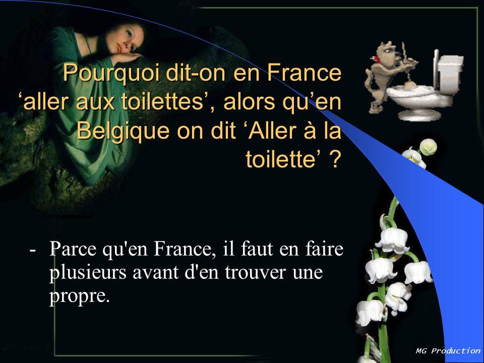 MG Production Pourquoi dit-on en France 'aller aux toilettes', alors qu'en Belgique on dit 'Aller à la toilette' .