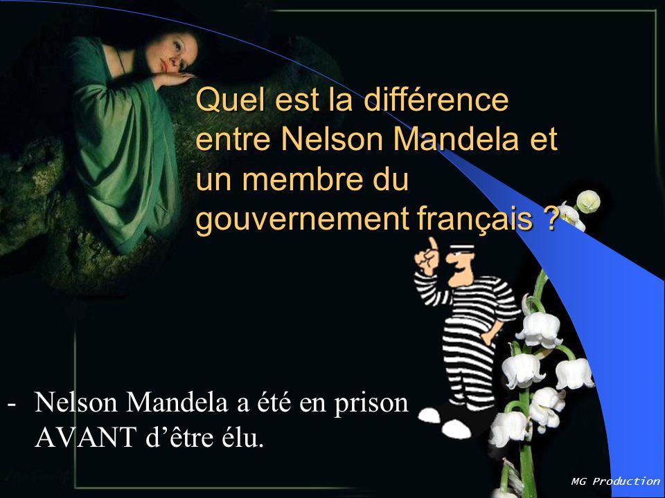 MG Production Quel est la différence entre Nelson Mandela et un membre du gouvernement français .