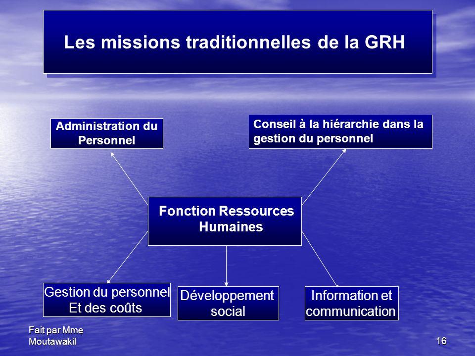 Fait par Mme Moutawakil16 Les missions traditionnelles de la GRH Administration du Personnel Développement social Gestion du personnel Et des coûts In