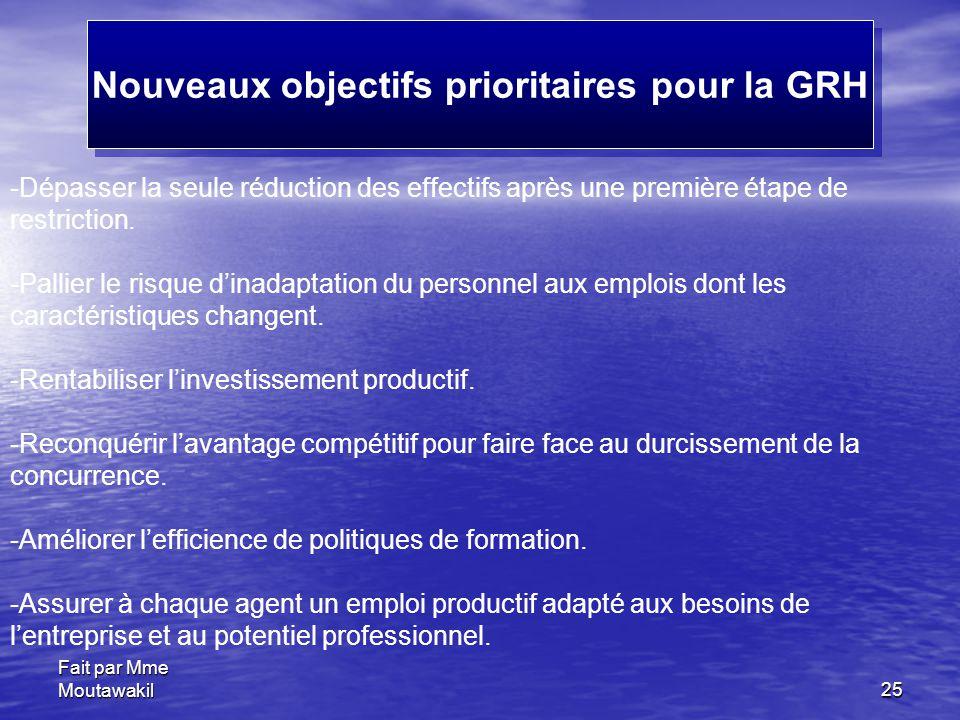 Fait par Mme Moutawakil25 Nouveaux objectifs prioritaires pour la GRH -Dépasser la seule réduction des effectifs après une première étape de restricti