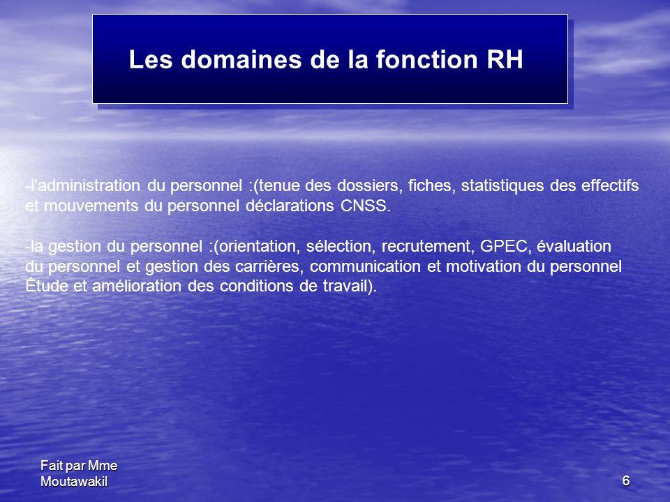 Fait par Mme Moutawakil6 Les domaines de la fonction RH -l'administration du personnel :(tenue des dossiers, fiches, statistiques des effectifs et mou