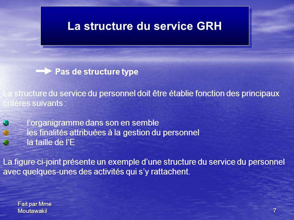 Fait par Mme Moutawakil7 La structure du service GRH Pas de structure type La structure du service du personnel doit être établie fonction des princip