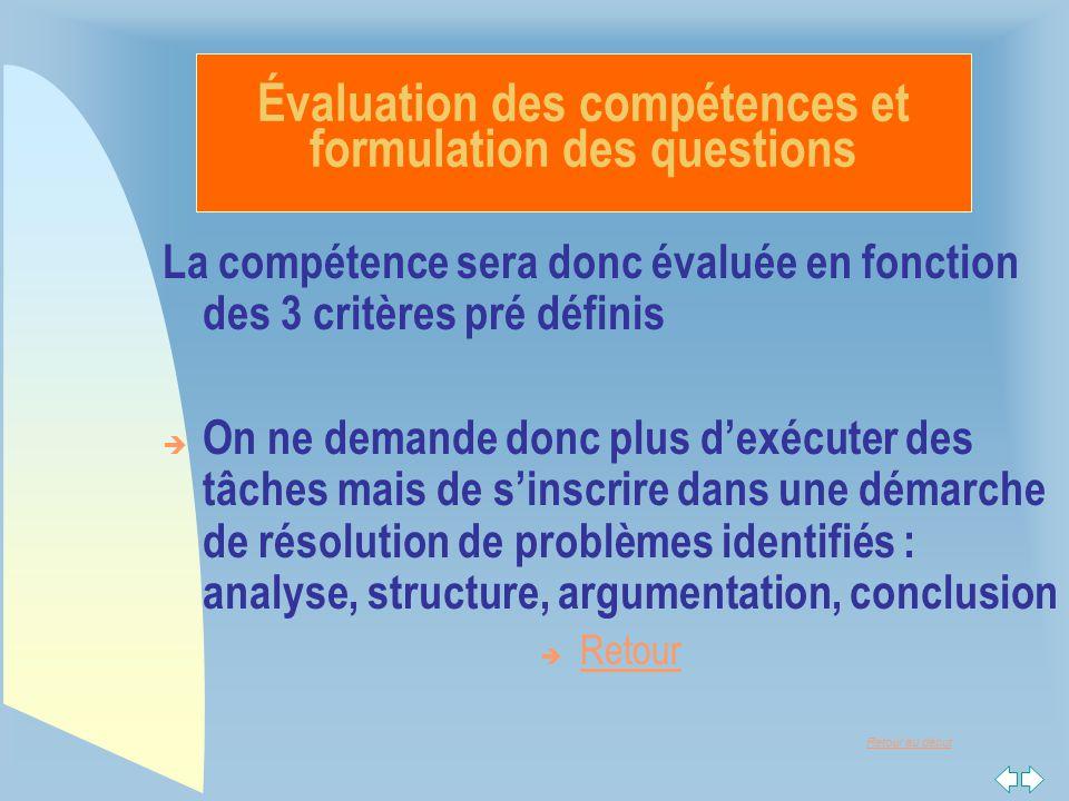 Retour au début La compétence sera donc évaluée en fonction des 3 critères pré définis  On ne demande donc plus d'exécuter des tâches mais de s'inscr