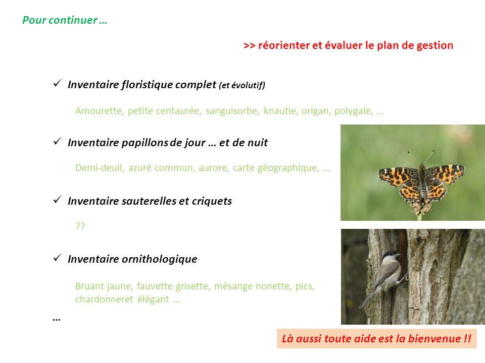 Pour continuer … Inventaire floristique complet (et évolutif) Inventaire papillons de jour … et de nuit Inventaire sauterelles et criquets Inventaire