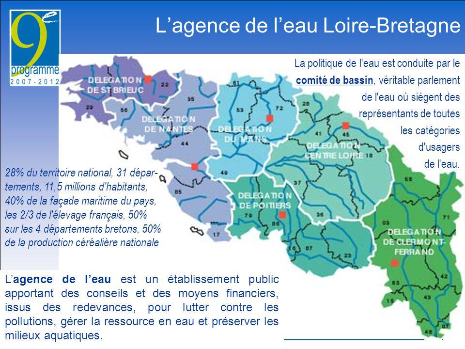 13 janvier 2009 1 L'agence de l'eau Loire-Bretagne L'agence de l'eau est un établissement public apportant des conseils et des moyens financiers, issus des redevances, pour lutter contre les pollutions, gérer la ressource en eau et préserver les milieux aquatiques.