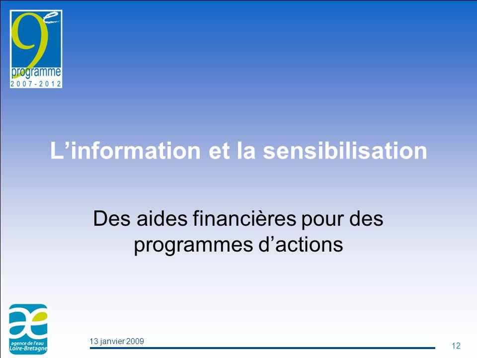 13 janvier 2009 12 L'information et la sensibilisation Des aides financières pour des programmes d'actions