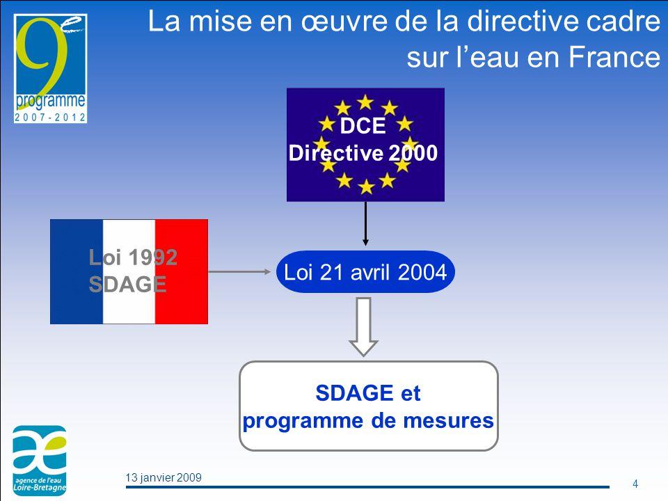 13 janvier 2009 4 Loi 21 avril 2004 SDAGE et programme de mesures La mise en œuvre de la directive cadre sur l'eau en France DCE Directive 2000 Loi 1992 SDAGE