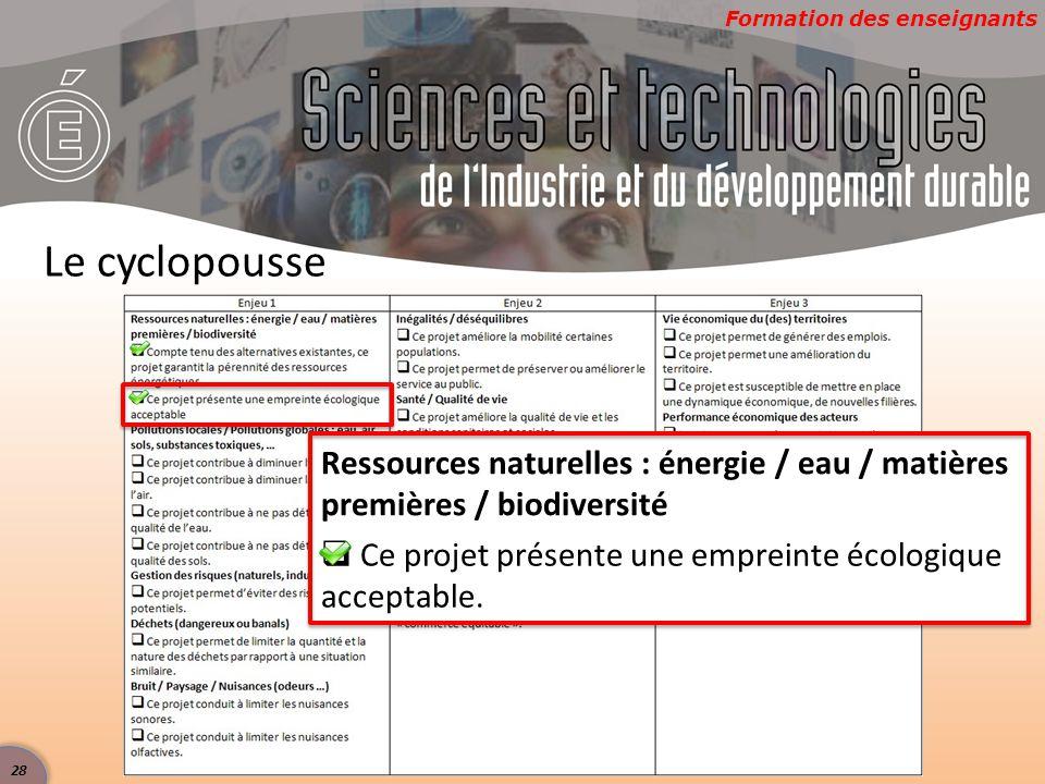 Formation des enseignants Le cyclopousse Ressources naturelles : énergie / eau / matières premières / biodiversité  Ce projet présente une empreinte écologique acceptable.